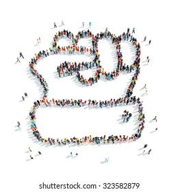 A group of people in the shape of a fist, isolated, cartoon, on a white background.