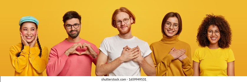 Group of people show love and sympathy, make heart gesture, express gratitude, being thankful for something, isolated over yellow studio background. Collage composition. Body language concept