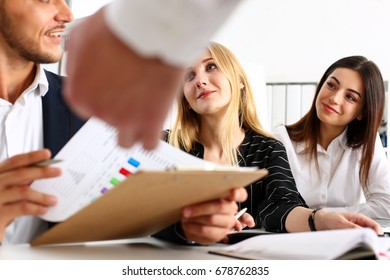 Group of people sit in office deliberate on problem portrait. White collar talk and listen, idea discuss, profit review, sale market debate, train, lawyer document study, finance adviser job concept
