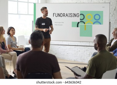 Group of people social fundraising for charity foundation