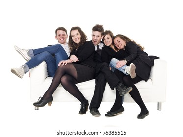 Group of people in a sofa isolated on white background