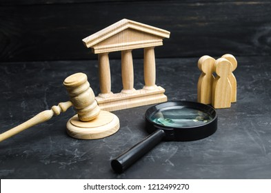 A group of people stand near the magnifying glass and the courthouse. Lawsuits, verdict and bills. Constitutional Court. Human rights obstruction, power control, anti-corruption. Selective focus