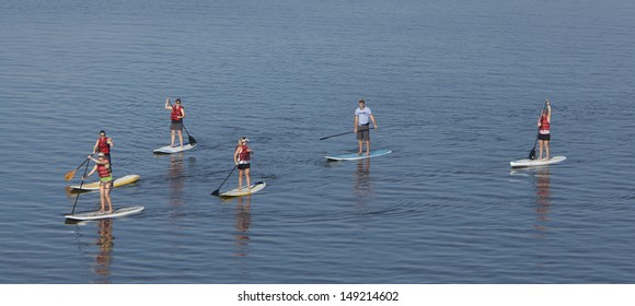 group of people stand up paddleboarding