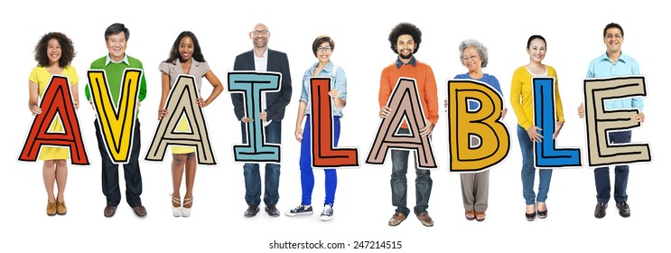 Group of People Standing Holding Available Letter