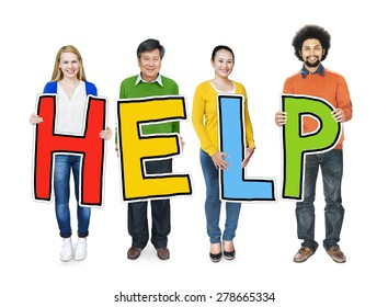 Group of People Standing Holding Help Concept