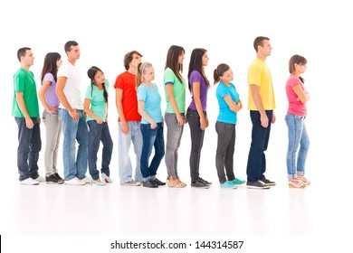 A group of people standing in the queue, isolated on white.