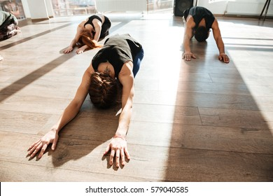 Group of people stretching and doing yoga on wooden floor in studio