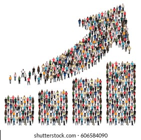 Group of people success business profit growth chart arrow sales growing