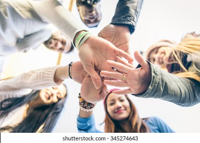 Group of people supporting each others. Concept about team work and friendship