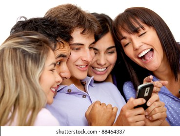 Group of people texting on a cell phone - isolated over white
