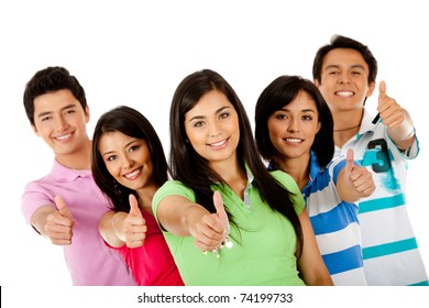 Group of people with thumbs up ? isolated over a white background