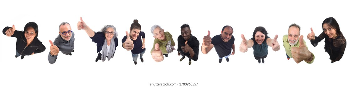 group of people thumbs up on white background