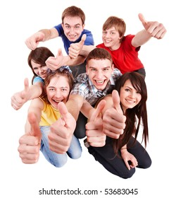 Group people with thumbs up. Isolated.