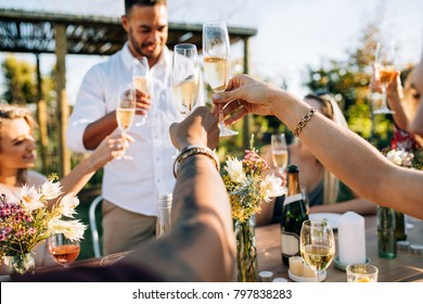 Group of people toasting drinks at a party. Young friends having drinks at garden restaurant.
