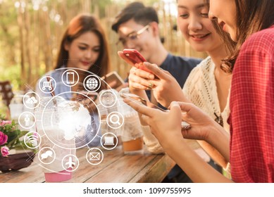Group of people use smartphone for connecting to various application, internet of things conceptual