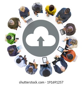 Group of People Using Digital Devices with Cloud Symbol