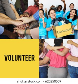 Group of people volunteer support together