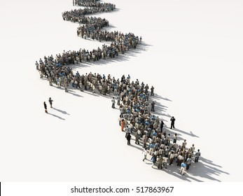 group of people waiting in line, 3d illustration