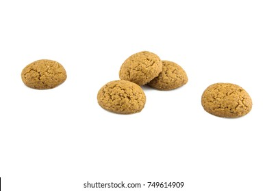 Group of Pepernoten, typical Dutch treat for Sinterklaas on december 5th, on White Background