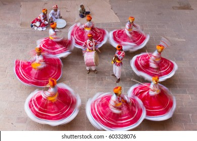 A group of performers were performing in traditional during a famous traditional Festival named Marwar Festival in India.