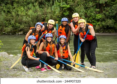 Group Photo Of White Water Rafting Group Before The Departure Specific Equipment