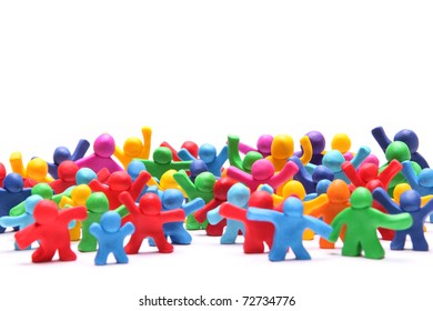group picture of many different colorful plasticine poeple