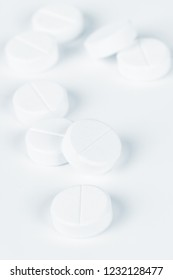 group of pills on a white background