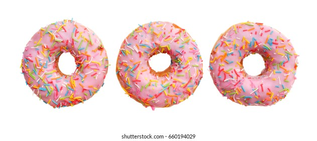 group of pink donuts, isolated on white background