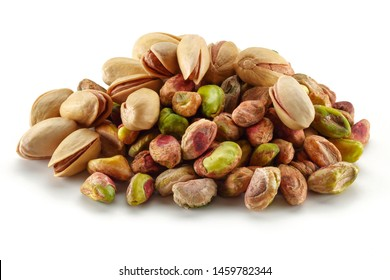 Group of pistachio nuts isolated on white background