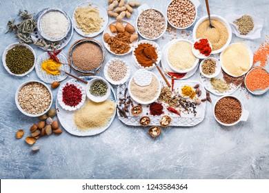 Group of plant based food diet vegan vegetarian dry grains, seeds condiments food