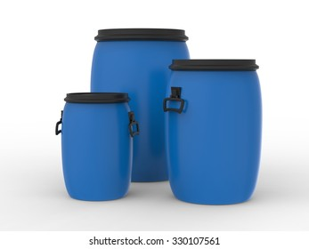 Group of plastic barrels