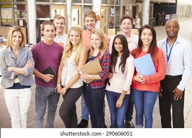 Group Portrait Of College Students With Tutor