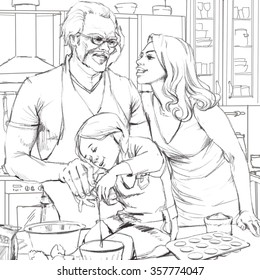 Group portrait of happy, smiling mother and adult father, cooking dinner, with  little daughter . Graphic illustration.
