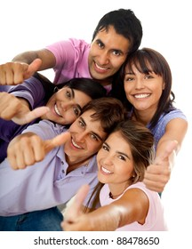Group of positive friends with thumbs- up, isolated over white