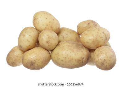 Group of potatoes isolated on white background