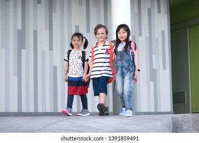 group of preschool enjoy and happy in leaving school after the end of class in a day