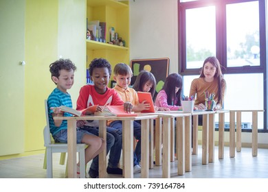 group of preschool kindergarten are in class attention in the subject teaching by the teacher