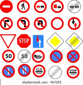 A group of priority and prohibition traffic signs used in Europe
