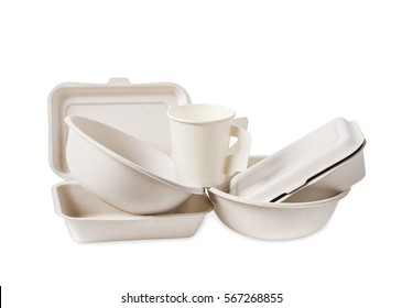 Group of product made from bagasse for container food, Box, bowl and cup. Isolated on white background, Clipping path.