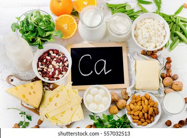 Group of products rich in calcium. Healthy food. Top view