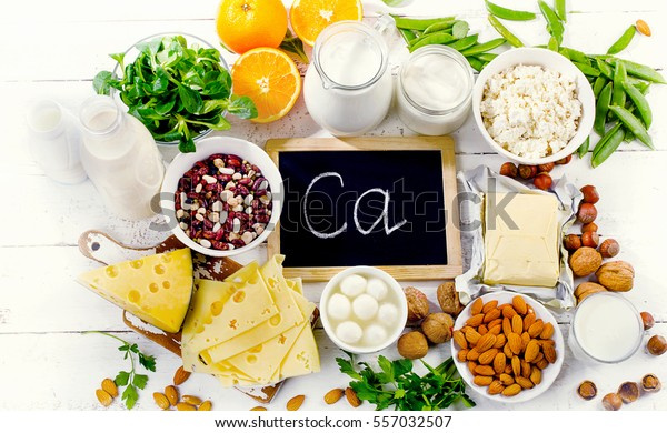 Group of products rich in calcium. Healthy diet food.Top view