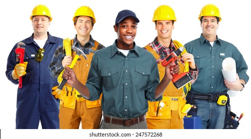 Group of professional construction workersisolated white background