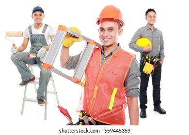 group of professional male engineer smiling to camera ready to do some work