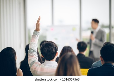 Group professional training in conference class meeting room have a question in business presentation seminar employer