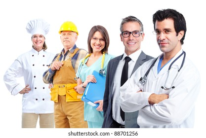 Group of professional workers. Isolated over white background.