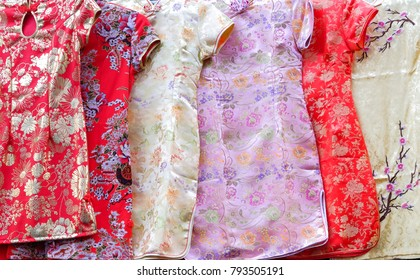 Group of Qipao dress (Chinese dress) for women. Qipao dress is costume for wear in the Chinese New Year.