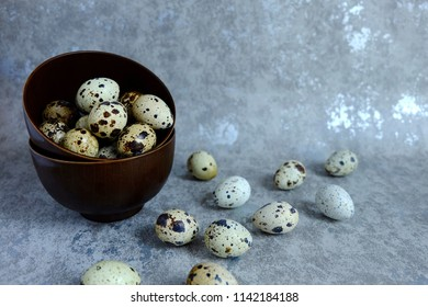 group of quail egg in cup on cement background