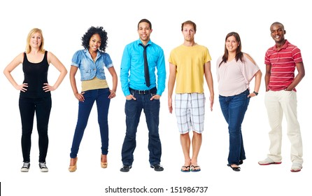 group of real people casual diversity isolated on white background