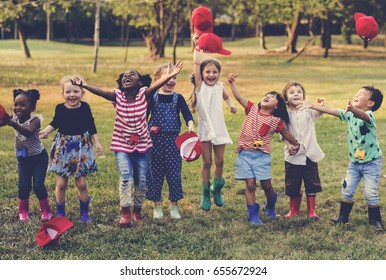 Group of red cap student are happiness