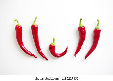 Group of red Chili peppers isolated on white background, restaurant design menu